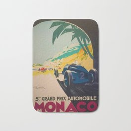 Vintage 1933 Monaco Grand Prix Car Advertisement Poster by Geo Ham Bath Mat