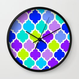 Moroccan BLUE GREEN AND PURPLE Wall Clock