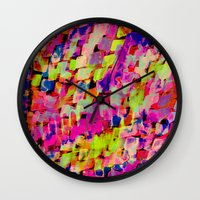 mineral Wall Clocks featuring Mineral Neon by Amy Sia