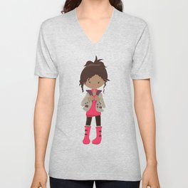African American Girl, Fashion Girl, Pink Boots Unisex V-Neck