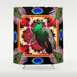 GREEN PEACOCK & FEATHERS RED-BLACK ART Shower Curtain