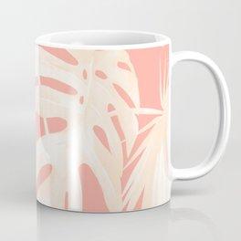 Tropical Coral Pink Palm Leaf Pattern Coffee Mug