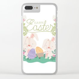 Happy Easter Baby Bunnies, Eggs and Pastel Flowers 2 Clear iPhone Case