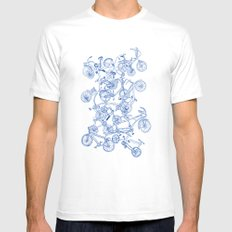 Bicycle crowd MEDIUM White Mens Fitted Tee