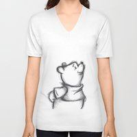 pooh V-neck T-shirts featuring Insightful Pooh by Makayla Wilkerson