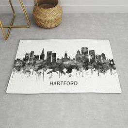 Hartford Connecticut Skyline BW Rug