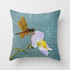 Dragonfly & Meadow Beauty Throw Pillow