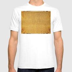 Burlap texture look White MEDIUM Mens Fitted Tee