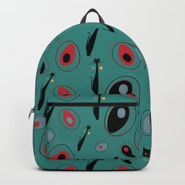 Mid-Century Modern Art Atomic Cats 1.3 Teal Pattern Backpack