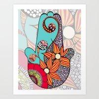 hamsa Art Prints featuring Hamsa by Sophia Skipka