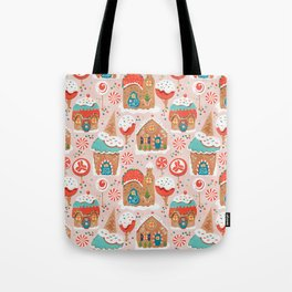 Gingerbread Candy Land on pink Tote Bag