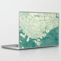 singapore Laptop & iPad Skins featuring Singapore Map Blue Vintage by City Art Posters