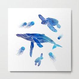 Blue Watercolor Sea Creatures Metal Print