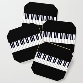 Piano Keys - Black and white simple piano keys pattern minimalistic music themed artwork Coaster