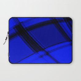 Charcoal nautical curved strokes with crisp, chaotic meshes of intersecting Scottish stripes. Laptop Sleeve