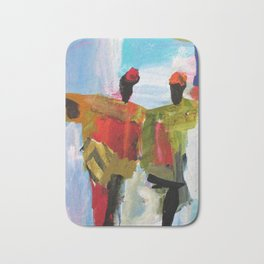 People Figure the World Abstract Art Contemporary Blue Red Green Black Sky Bath Mat
