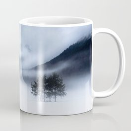 Fog, mountains and lonely tree in winter Coffee Mug