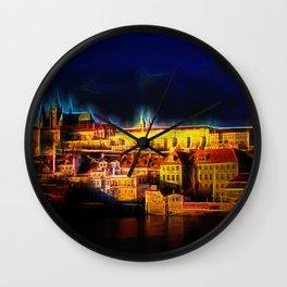 Fractal Prague castle glow UV Wall Clock