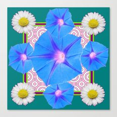 Blue Morning Glories & Shasta Daisies Teal Art Canvas Print