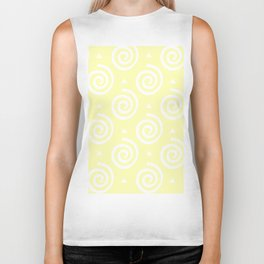 Happy spirals on yellow, pattern. Biker Tank