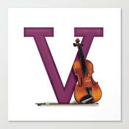 V is for Violin Canvas Print