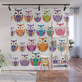 pattern - bright colorful owls on white background Wall Mural