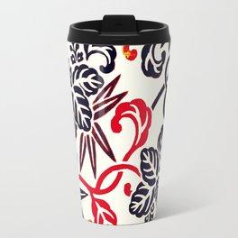 Japanese Leaves Burgundy/ Coral Travel Mug