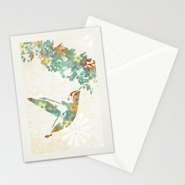 Colorful Teal Hummingbird Art Stationery Cards