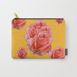 Peachy-Pink Tea Roses Orange-Lilac Art Carry-All Pouch