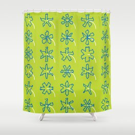 forget-me-knots flowerbed Shower Curtain