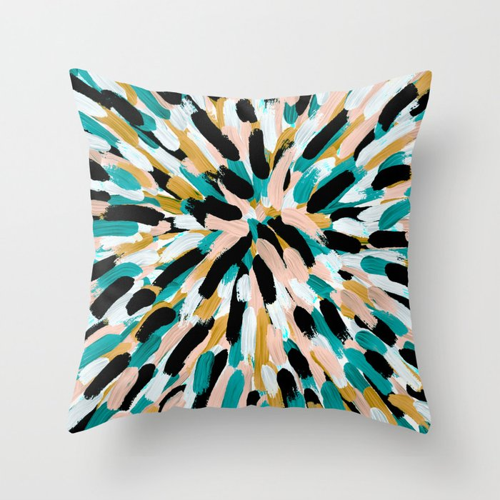 Teal Pink And Gold Paint Burst Throw Pillow By Lisaguenraymond Society6