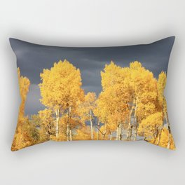 Golden Aspens and an Impending Storm Rectangular Pillow