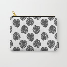 Monstera house plant leaf black and white painting  hipster indoor house plant tropical garden   Carry-All Pouch