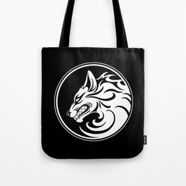 White and Black Growling Wolf Disc Tote Bag