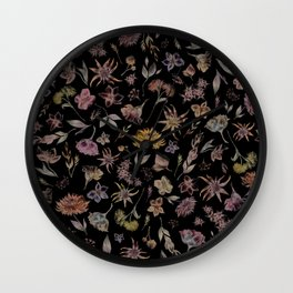 Botanical Study- Dark Colorway Wall Clock