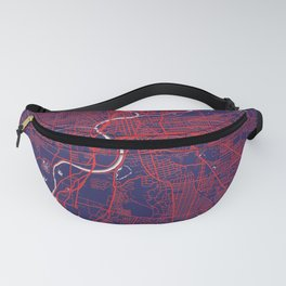 Dayton, OH, USA, Blue, White, City, Map Fanny Pack