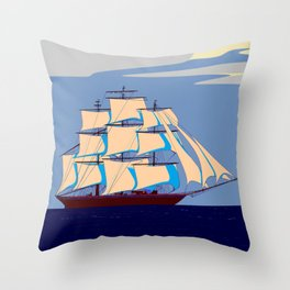 A Clipper Ship with Gray Skies, Sunset Throw Pillow