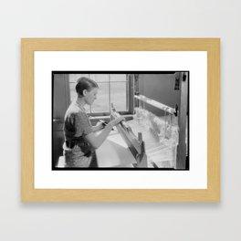 Alice McCarter, weaving a baby blanket Framed Art Print