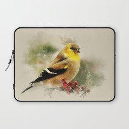 Goldfinch Watercolor Art Laptop Sleeve
