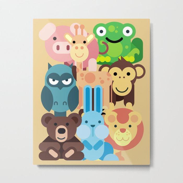 Zoo Animals Farm Kids Room Decor Nursery Baby Metal Print By Trartstudio