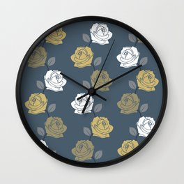 Rose Vine Pattern Blues Golds White Wall Clock