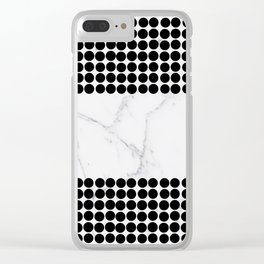 Black white polka dots modern marble pattern Clear iPhone Case