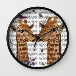 Kissing Giraffes With Birds print Wall Clock