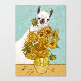 Naughty Llama and The Sunflowers Canvas Print