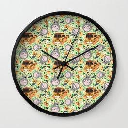 Ghibli pattern 01 (light green) Wall Clock