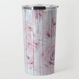 Shabby Chic Dusky Pink Roses On Blue Wood Background Travel Mug