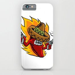 Mexican red chili pepper with guns. iPhone Case
