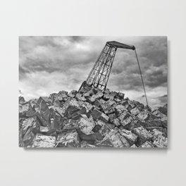 Crane with scrap metal. Metal Print