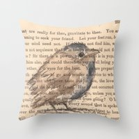 waldo Throw Pillows featuring Ralph Waldo Emerson Bird by Wendy Roscoe Designs
