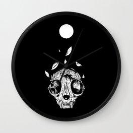 The concept of winning (lucky cat skull + laurel wreath) Wall Clock